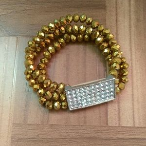 Fashionable Gold Rhinestone CZ Stretch Bracelet